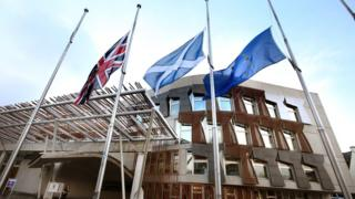 Union Jack, Saltire in addition to European Union flag outside the Scottish Parliament