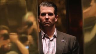 ドナルド・トランプ・ジュニア氏は、クリントン氏に関する「有意義な情報」の提供はなかったと話した。写真は今年1月18日、ニューヨークのトランプタワーで