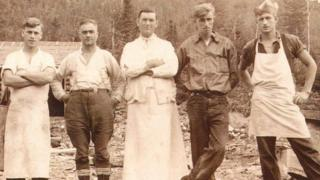 Pat Hennessy, middle, with fellow Canadian Forestry Corps personnel