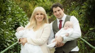 Lizzie and Danny Jones with their twins
