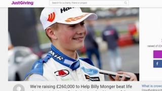 La página web de Billy Monger en JustGiving