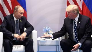 ประธานาธิบดีปูตินของรัสเซียและประธานาธิบดีทรัมป์ของสหรัฐฯ