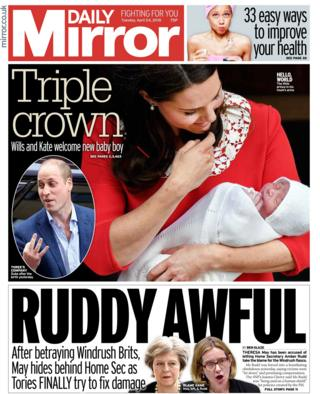 Daily Mirror front page - 24/04/18
