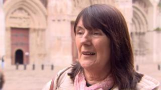 Anne Morgan outside Notre Dame Cathedral in Paris