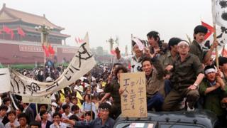 1989年,民眾在北京天安門抗議