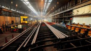 The steel tube plant at Corby, Northants
