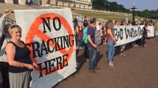Protesters claim the drill poses a risk to the water supply to thousands of homes