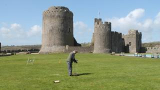 A geophysical survey being carried out at Pembroke Castle