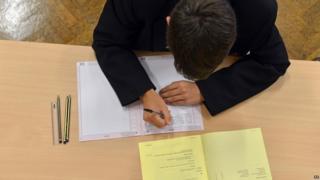 Boy in exam