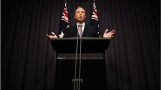 Peter Dutton, Australia's immigration minister, addresses the media