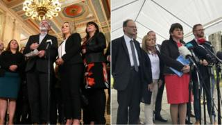 Sinn Fein delegation are pictured giving a press conference inside Stormont and a DUP delegation outside the building.