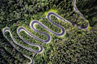 A road in Transylvania, Romania.