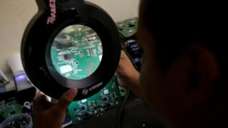 Circuit board being examined