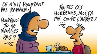 """Cartoon depicting a mother and son. """"It's not Ramadan yet... why aren't you eating your food?"""" asks the mother. """"All these horrors are spoiling my appetite,"""" the child replies"""
