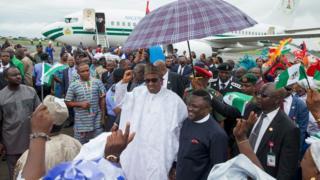 President Muhammadu Buhari arrives at the Margaret Ekpo international airport in Calabar.