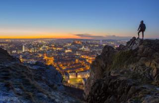 A frosty blue hour Edinburgh, from the Salisbury Crags