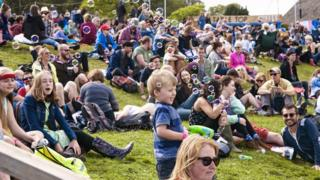 People at the Green Man Festival in Powys