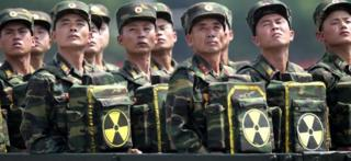 North Korean soldiers pose with packs bearing the nuclear emblem in Pyongyang (July 2013)