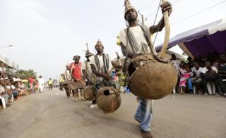 Musicians taking part in the Ivoiro-Antillais festival in Bingerville, Ivory Coast - Saturday 25 February 2017