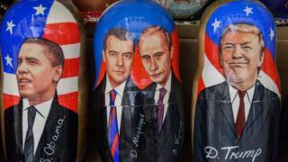 матрешки из Обамой, Медведевым, Путиным равным образом Трампом