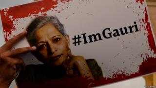 "a poster of Indian journalist Gauri Lankesh captioned ""hashtag I am Gauri"""