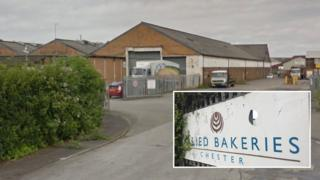 Allied Bakeries depot in Saltney, Flintshire and an Allied Bakeries sign in Chester/Satlney