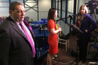 UKIP's David Coburn and SNP's Kate Forbes preparing for a television interview
