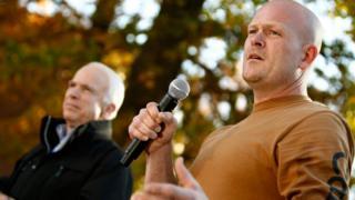 Joe the Plumber (r) with Republican presidential candidate John McCain