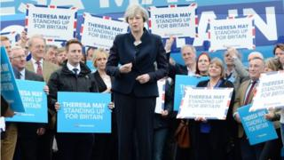 Theresa May campaigning in Northumberland