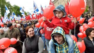Ukrayna'nın başkenti Kiev'de sol partiler ve sendikalar yürüyüş düzenledi.