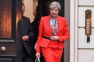 British Prime Minister Theresa May leaves the Conservative Party HQ in central London, on June 9, 2017, hours after the polls closed in the British general election