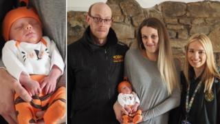 Baby Phillip Alan with parents Rhiannon Oldham and Gareth Williams and 999 call handler Chelsie Holbrook