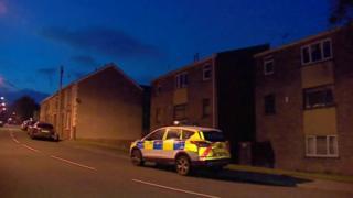 Police car at scene in Ogmore Vale