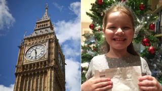 El Big Ben junto a una foto de Phoebe Hanson con la respuesta de la BBC.