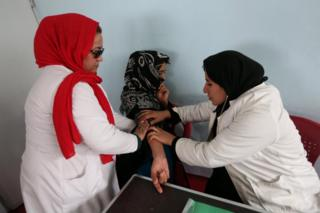 An Afghan drug addict receives medical treatment at Addiction Recovery Center (ARC) in Herat, Afghanistan, 13 February 2017