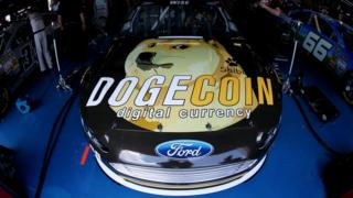 Ford Nascar race car sponsored by Dogecoin backers