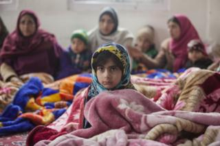 A young girl at the camp in Uri.