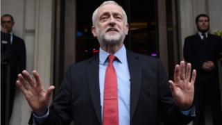 Jeremy Corbyn speaks to media