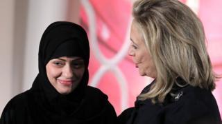 Samar Badawi (left) and Hillary Clinton. Photo: 2012