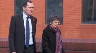 Eileen Coull arriving at Leicester Crown Court