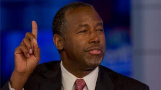"""US Republican candidate Dr. Ben Carson speaks during an appearance on Fox News Channel's """"Hannity"""" in New York on 5 October 2015."""