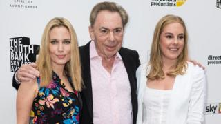 Lord Andrew Lloyd Webber with Imogen Lloyd Webber (left) and Isabella Aurora Lloyd Webber attend The Southbank Sky Arts Awards 2017