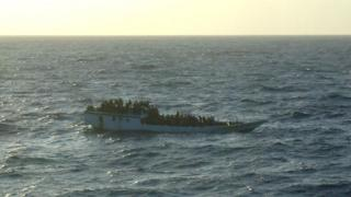 File photo shows a boat of asylum seekers off Christmas Island in 2012.