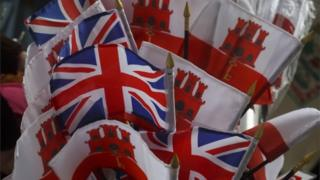Gibraltar and UK souvenir flags