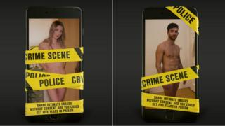 Posters featuring pictures of naked man and woman covered in crime scene tape