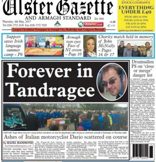 Front page of Ulster Gazette and Armagh Standard