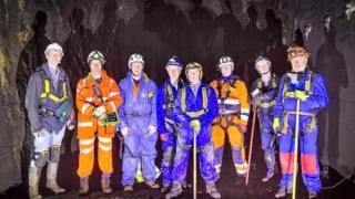 The team inspecting the Rhondda Tunnel