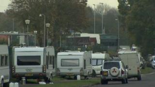 Travellers' camp in Harlow