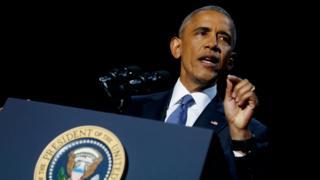 お別れ演説をするオバマ米大統領(10日、イリノイ州シカゴ)