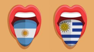 Ilustraciones de una boca con la bandera argentina y otra con la uruguaya. (Foto: iStock/BBC)